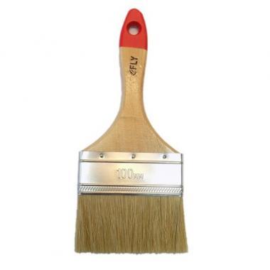 Кисть плоская с деревянной рукояткой и натуральной щетиной, ширина 100 мм